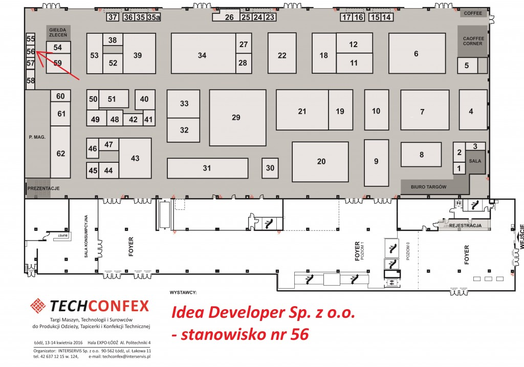 TECHCONFEX, mapa wystawców, targi